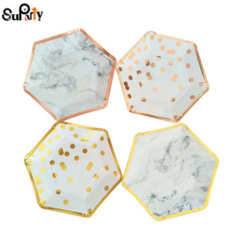 32pcs Foil Gold Paper Plates Modern Marble/Dot with Metallic Rose Sweet Dishes for Wedding Hen Party Christmas Birthday Decor