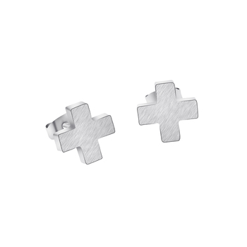 DIANSHANGKAITUOZHE Cruciform Earring Student Minimalism Demure Elegant Stainless Steel Cross Stud Earrings For Women Rose Gold
