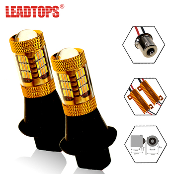 LEADTOPS 2pcs Front Turn Signal Brake Lights Source 54 SMDS T20 LED 1156 12V 4014 Chip Car LED Dual-Color DRL Signaling Lamp CJ